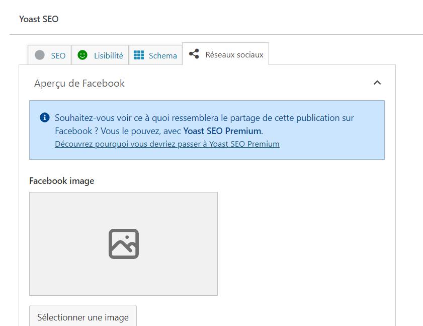 Capture d'écran de la modification de l'image de partage Facebook via l'outils Yoast SEO dans un site WordPress